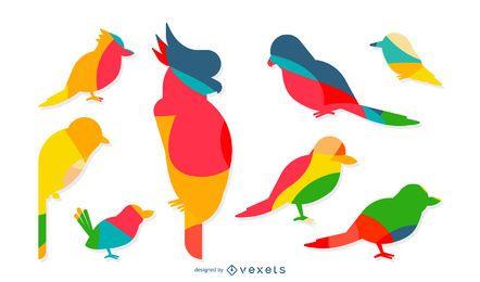 Bunte Silhouetten von Vögeln gesetzt