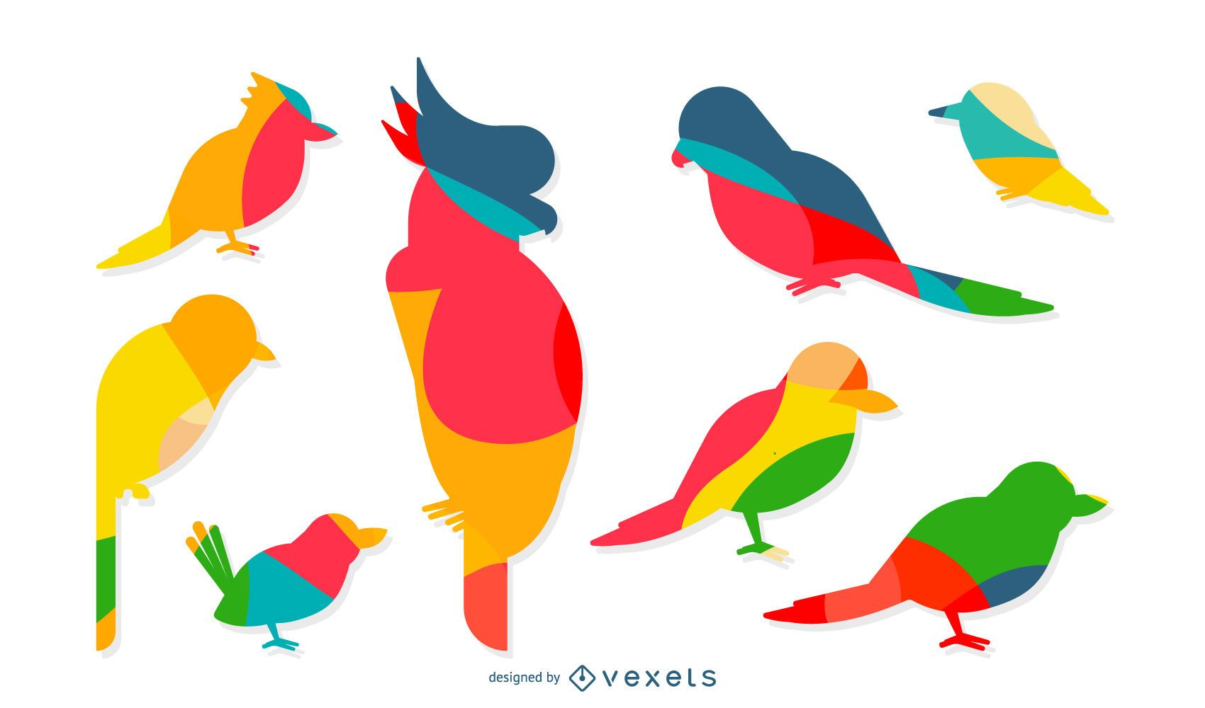 Colorful silhouettes of birds set