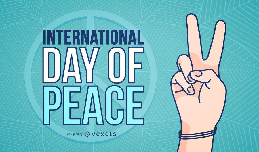 Cartaz do símbolo de mão do dia internacional da paz