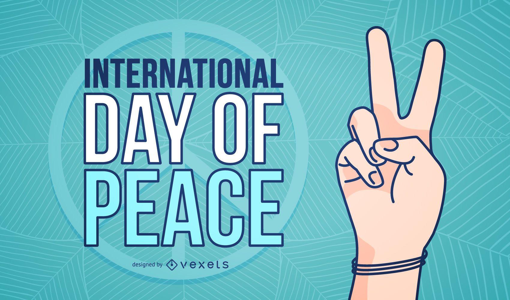 Cartaz com o símbolo das mãos do Dia Internacional da Paz