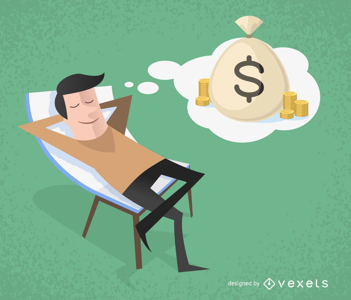 Illustrierter Mann der an Geld denkt