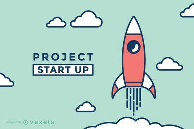 Inicie a ilustração do foguete