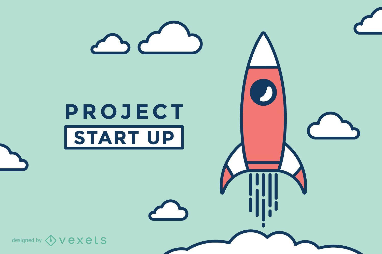 Start up rocket illustration
