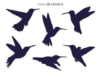 Conjunto de silhuetas de colibris