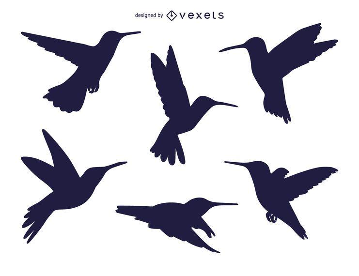 Set of hummingbird silhouettes