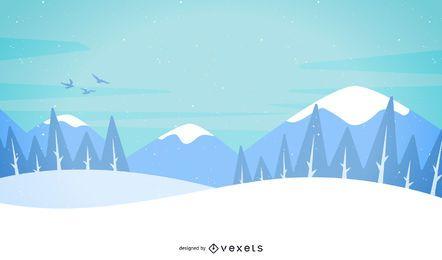Paisaje ilustrado de nieve y montañas