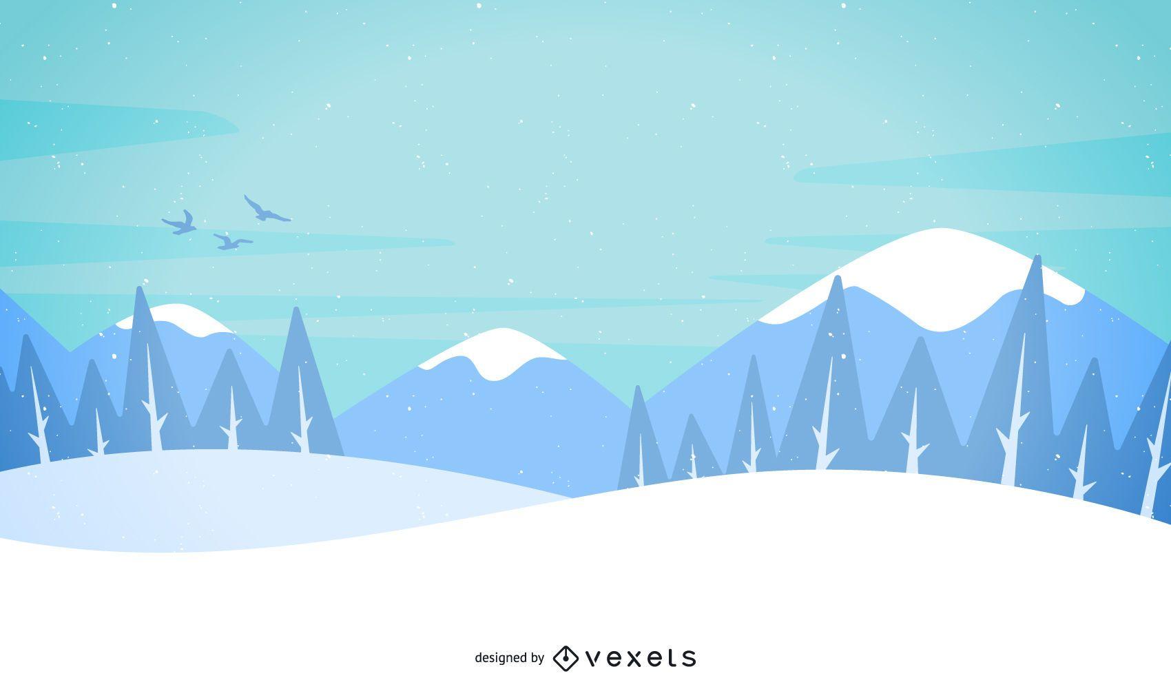 Paisaje ilustrado de nieve y montañas.