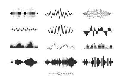 Colección de ilustraciones de ondas sonoras