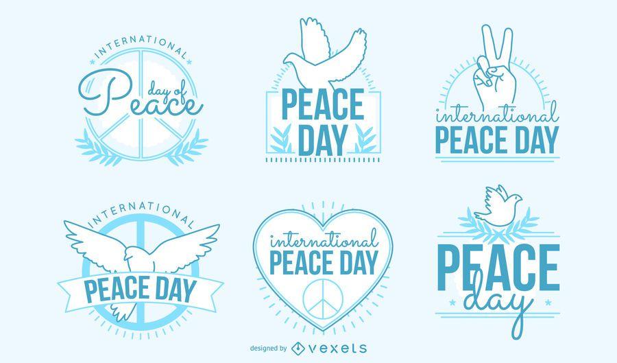 Colección de insignias del Día de la Paz.