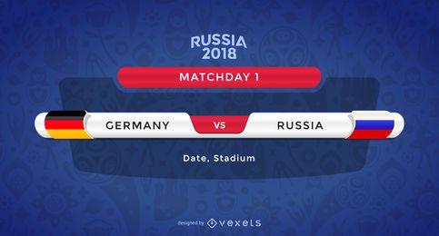 Banderas del partido de la Copa del mundo de Rusia 2018
