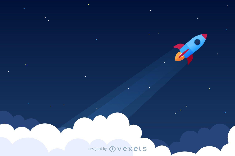Ilustração de lançamento de foguete para o espaço