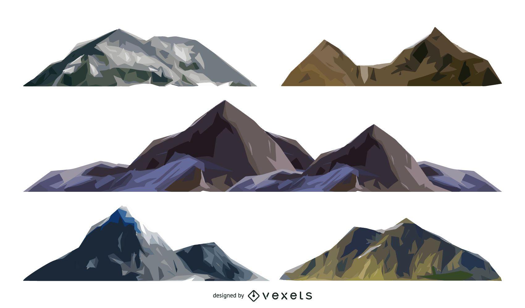 Set of isolated mountain illustrations