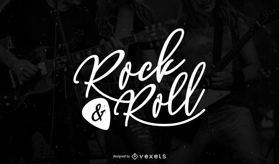 rock and roll logo template design vector download