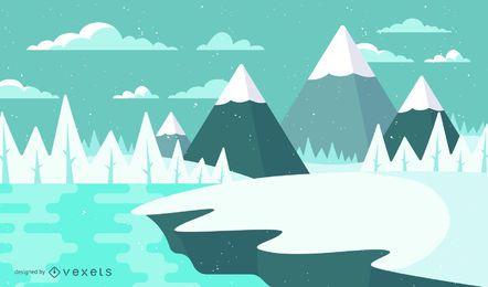 Ilustração de paisagem de neve de inverno