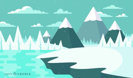 Ilustración de paisaje de nieve de invierno