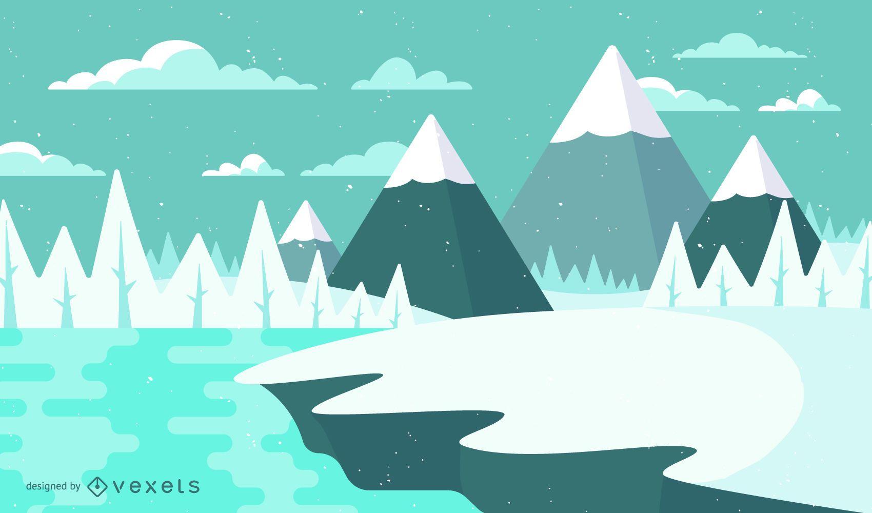 Landscape Illustration Vector Free: Winter Snow Landscape Illustration