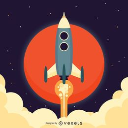 Flat rocket space illustration