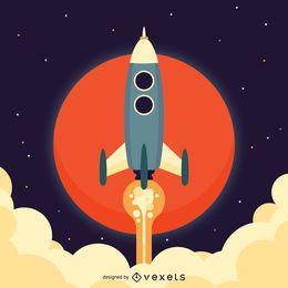 Ilustração plana do espaço de foguete