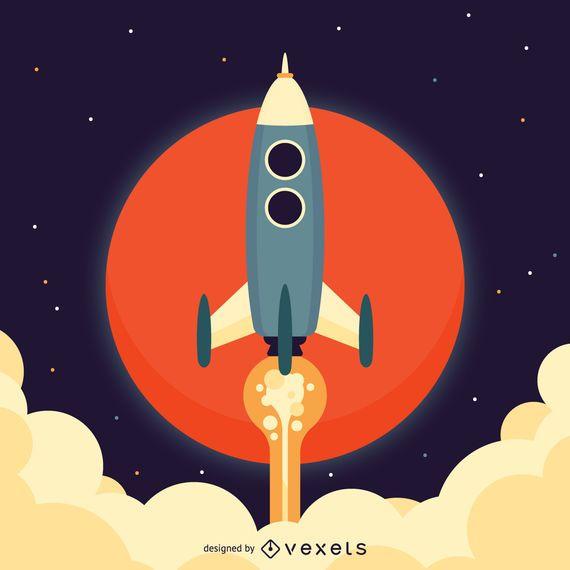Ilustração do espaço foguete plana