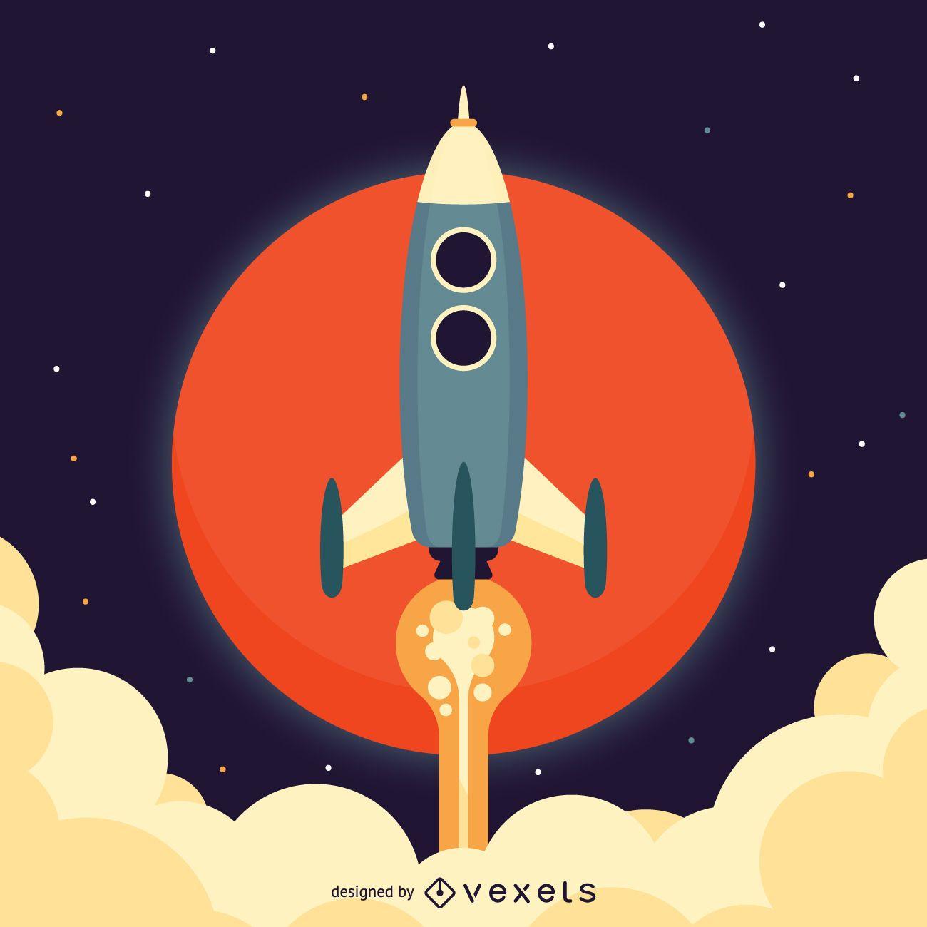 Flat rocket space illustration