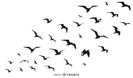 Colección de silueta de bandada de pájaros