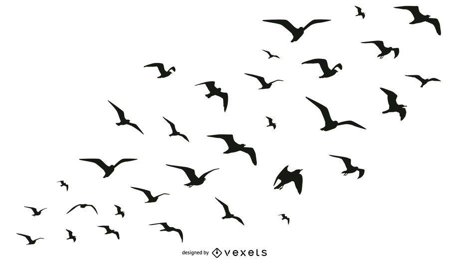 Colección de aves bandada silueta