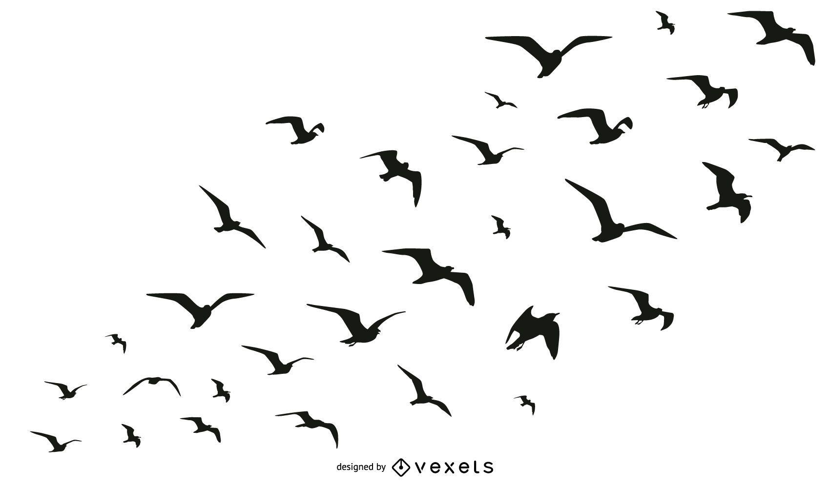 Colección De Silueta De Lobo: Colección De Aves Bandada Silueta