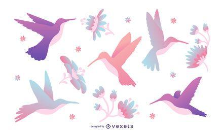 Conjunto de ilustração de colibri de tons Pastel