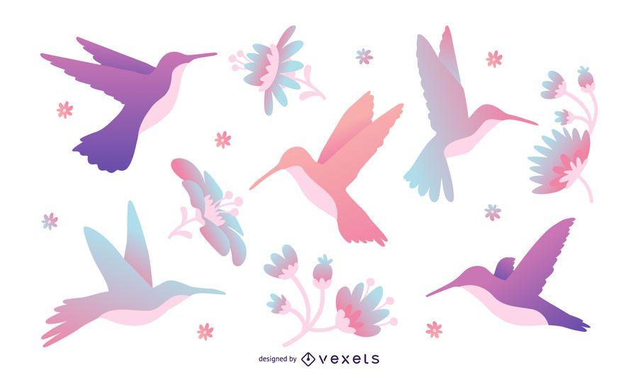 Tonos pastel colibrí ilustración conjunto