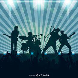 Rockband, die Illustration spielt