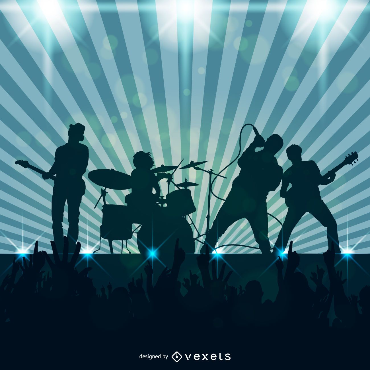 Rock band playing illustration