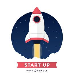 Flat rocket illustration badge