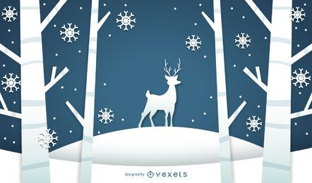 Winter landscape illustration with deer