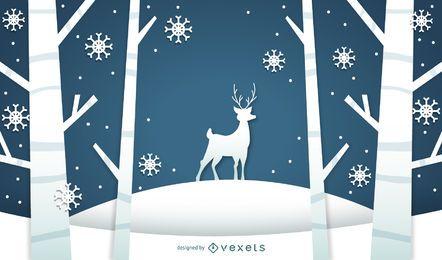Winter landscape illustration with deer
