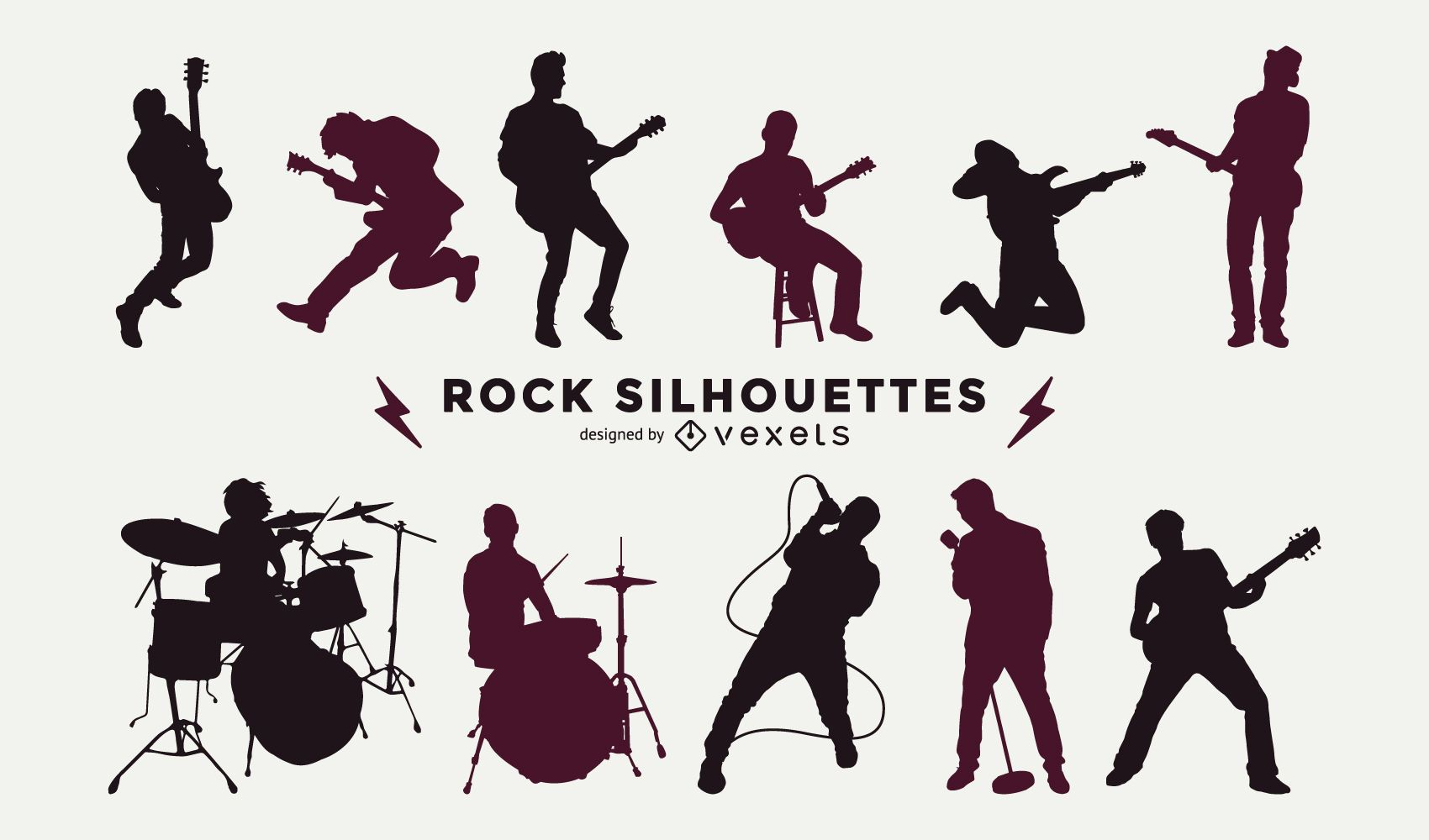 musicians silhouette collection vector download