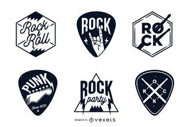 Conjunto de insignias y etiquetas de roca.