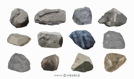 Colección de ilustraciones de rocas