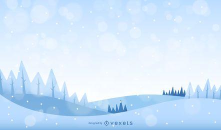 Invierno paisaje con nieve y árboles