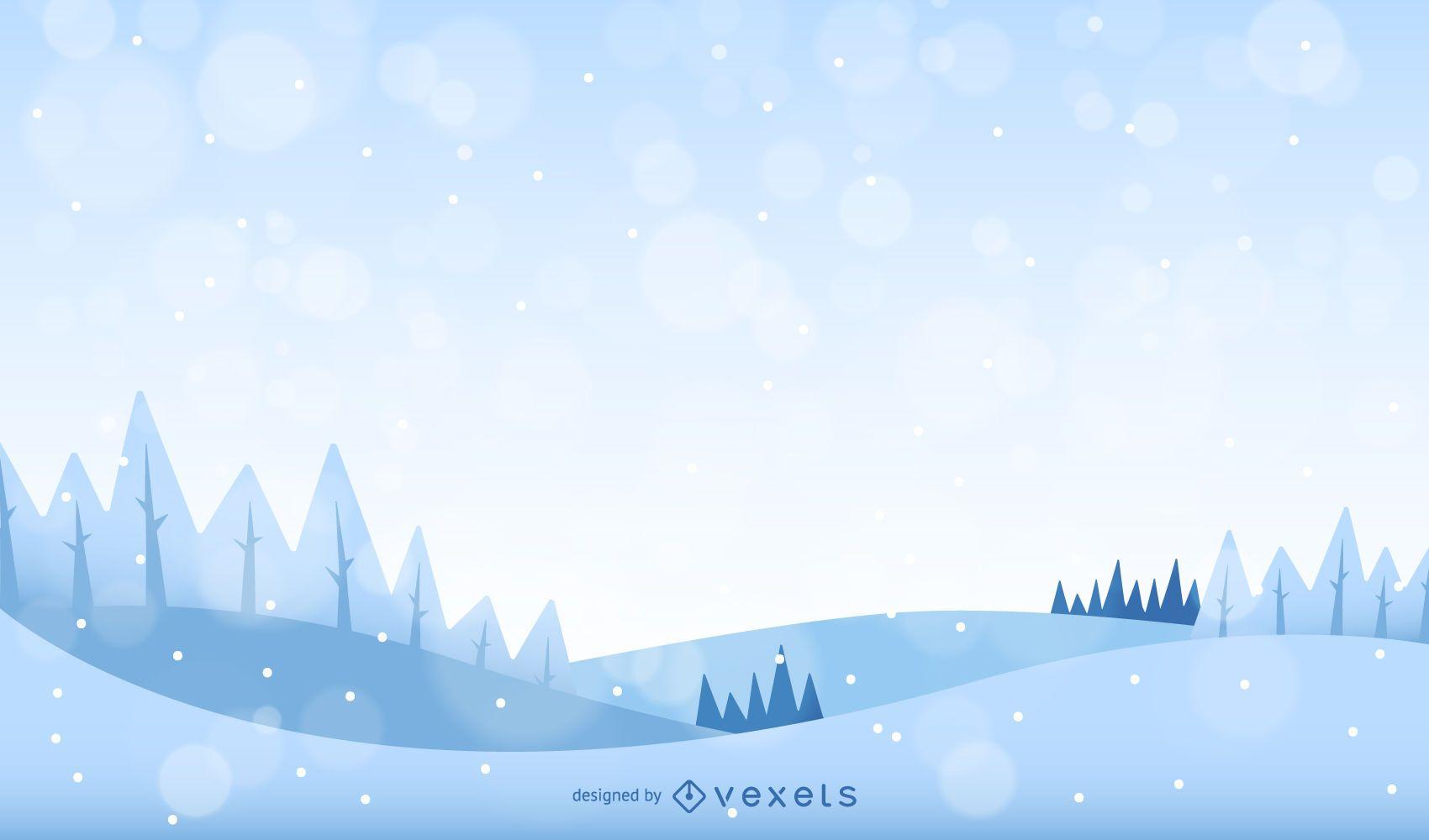 Paisaje de invierno con nieve y árboles.