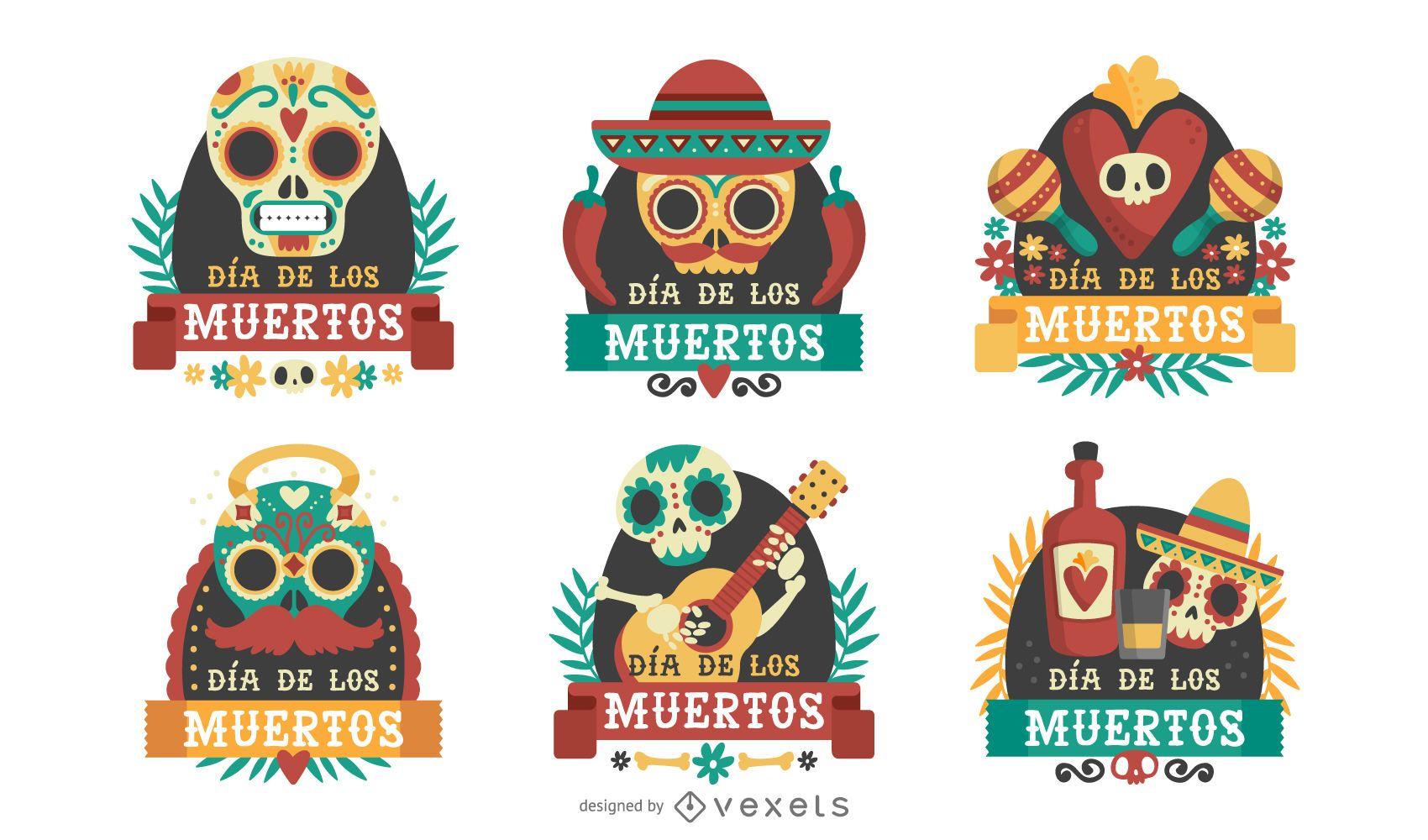 Conjunto de insignias de etiqueta Dia de los Muertos