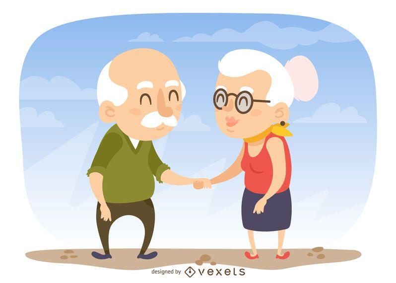 Abuelos, tenencia, manos, Ilustración