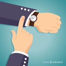 Homem de negócios que verifica a ilustração do relógio