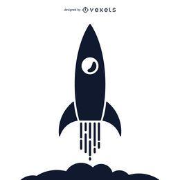 Ilustração da silhueta do foguetão