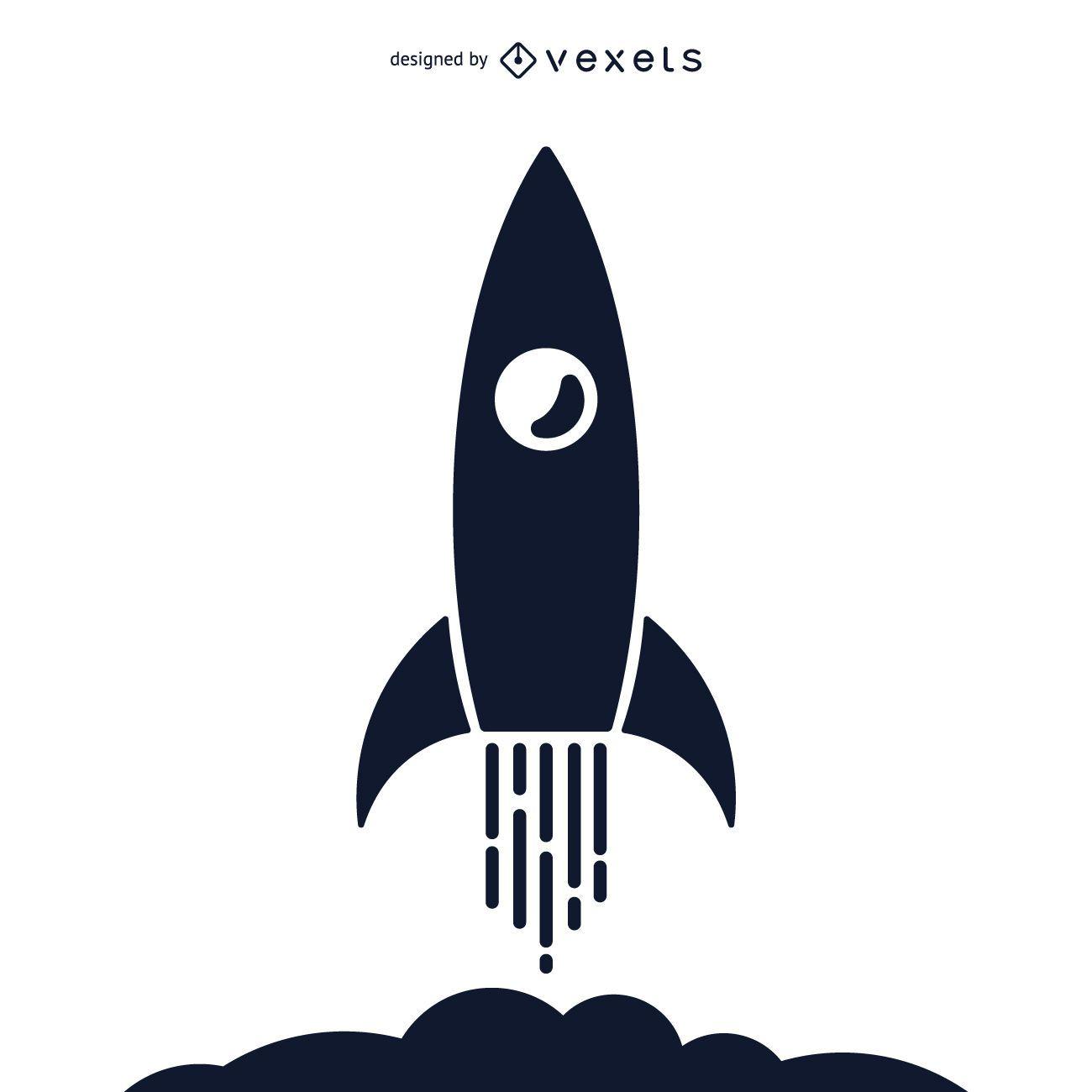 Ilustración de silueta de cohete