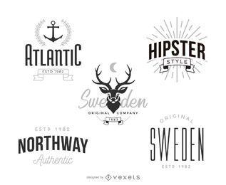 Conjunto de modelo de logotipo hipster