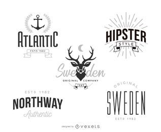 Conjunto de plantillas de logotipo de hipster
