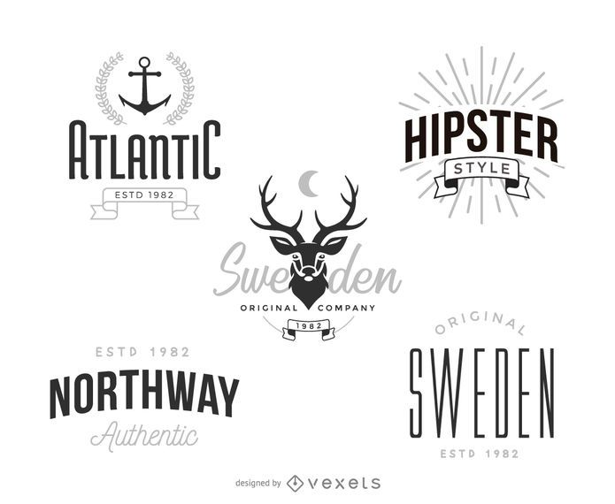 Hipster logo template set