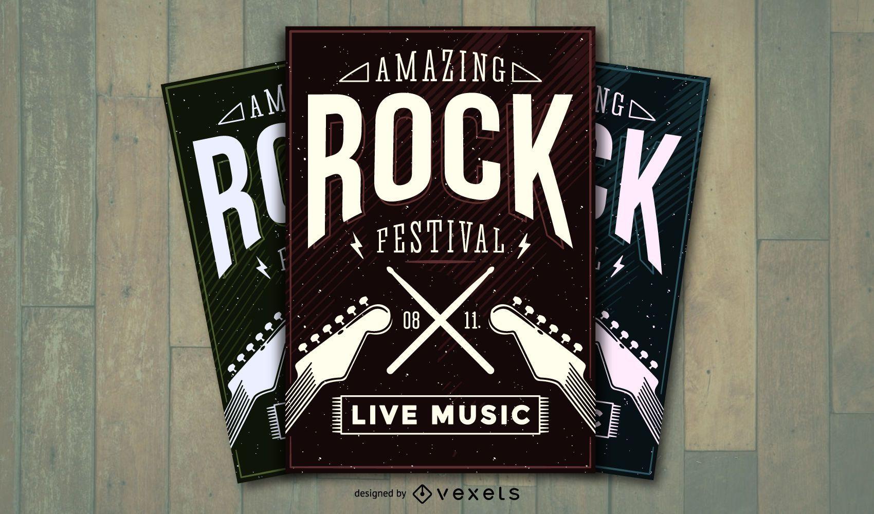 Plantilla de cartel de festival de rock