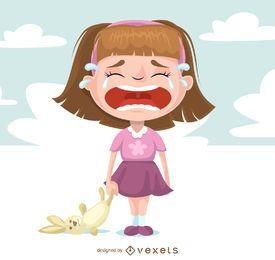 Ilustrado, garota triste, chorando