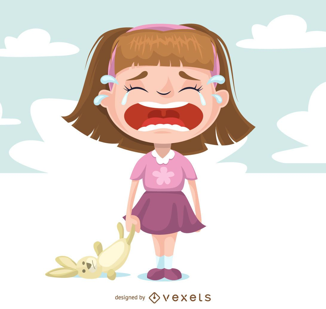 Illustrated Sad Girl Crying - Vector Download-2353